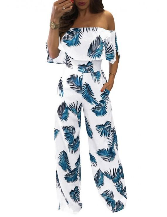 Women Off Shoulder Jumpsuit Strapless Playsuit Overalls Leaf Print Long Pants Pockets Short Sleeves Rompers Blue/Red/Green