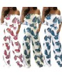 Women Off Shoulder Jumpsuit Strapless Playsuit Overalls Leaf Print Long Pants Pockets Short Sleeves Rompers Blue/Red/Green