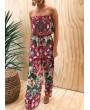 Women Jumpsuit Floral Print Off Shoulder Rompers Backless Boho Loose Playsuit Pink