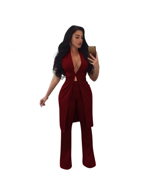 Women Two Piece Set Long Vest V-Neck Sleeveless Flare Pants Casual Coat Trousers Set Solid Outfit Outerwear