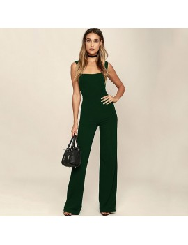 New Sexy Women Flared Square Neck Jumpsuit Solid Color Sleeveless Back Zipper Romper Playsuit