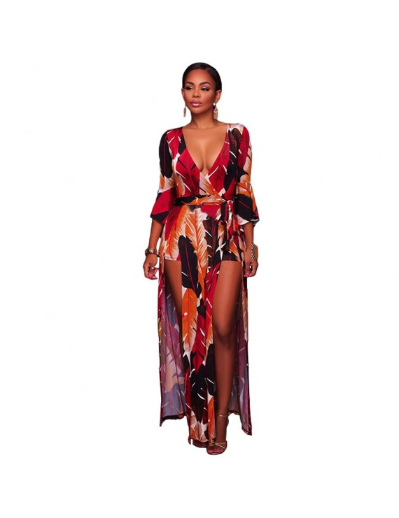 Sexy Women Deep V Neck Jumpsuit Leaves Print Belled 3/4 Sleeves High Low Dress Playsuit Rompers