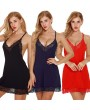 Women Slip Dress Chemise Nightgown Scalloped Lace V Neck Halter Racer Back Lingerie Sleepwear Pajamas