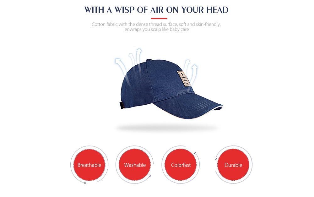 Men Adjustable Sun Baseball Hat Cotton Solid Color  for Outdoor Sports